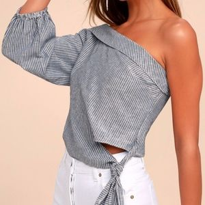 NEW!!!  GET DOWN STRIPED ONE SHOULDER TOP